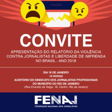 FENAJ lança, na sexta-feira, seu relatório da violência contra jornalistas