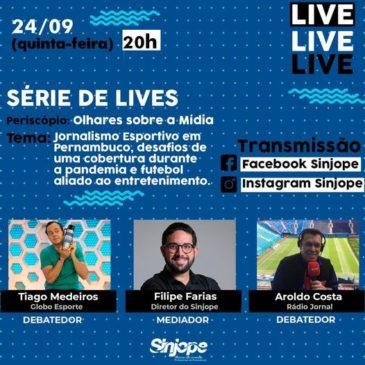 Live desta quinta (24/09) tem debate com os jornalistas Aroldo Costa e Tiago Medeiros