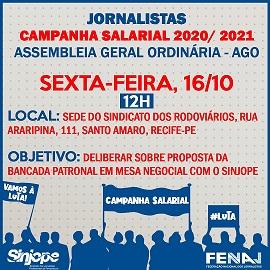 Sinjope promove Assembleia Geral da campanha salarial 2020