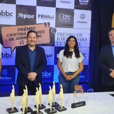 Prêmios Cristina Tavares e Cultural ressaltam o compromisso dos jornalistas com a liberdade de expressão e democracia