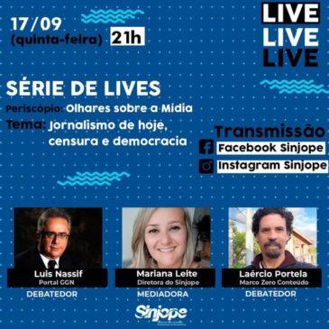 Segunda Live do Sinjope (17/09) vai ter Luis Nassif (GGN) e Laércio Portela(Marco Zero)
