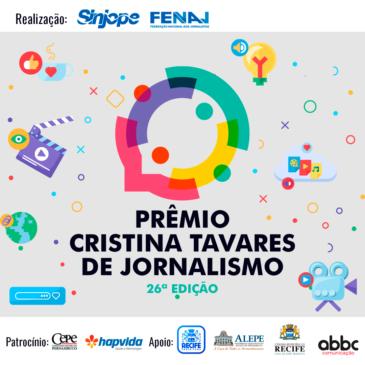 Sinjope e FENAJ abrem inscrições para o Prêmio Cristina Tavares e o 2º Prêmio de Jornalismo Cultural